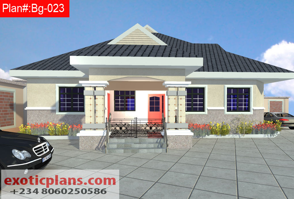 4 bedrooms bungalow bg 023 Four bedroom bungalow plan