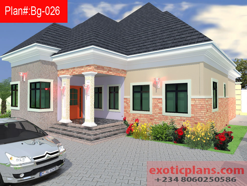 4 bedrooms bungalow bg 026 Four bedroom bungalow plan